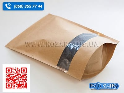 Крафт-пакет «Дой-Пак» з віконцем 130 x 195мм